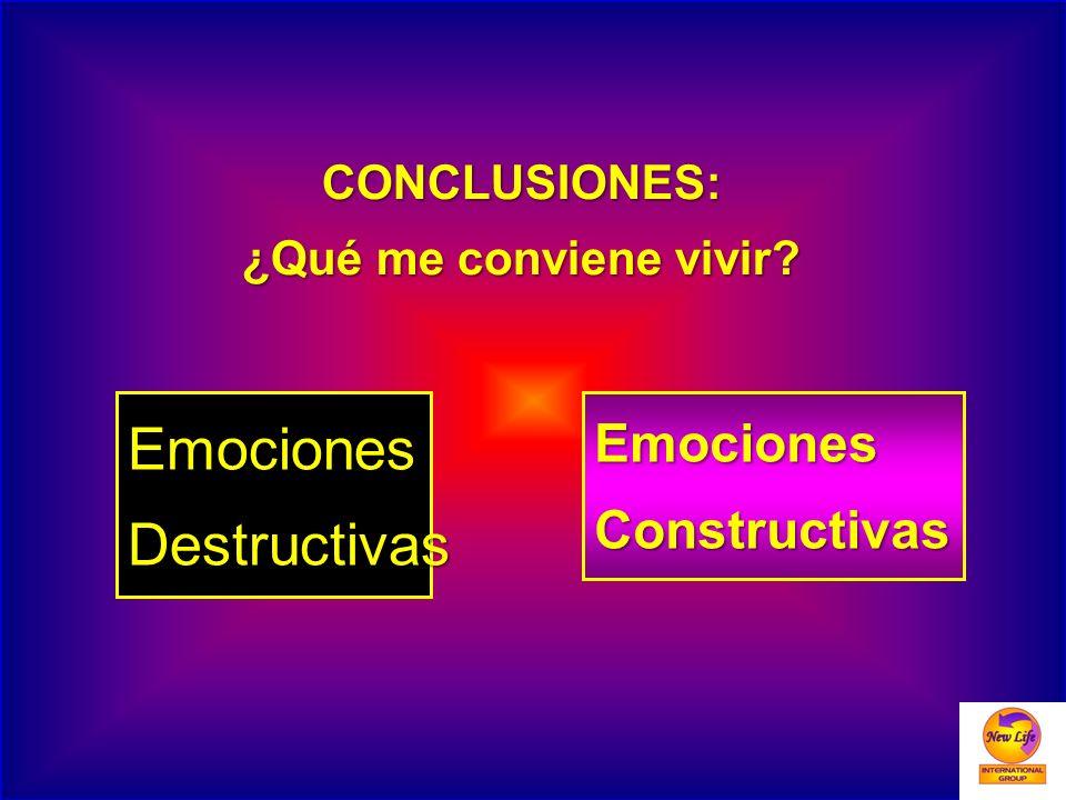 Emociones Destructivas Emociones Constructivas CONCLUSIONES: