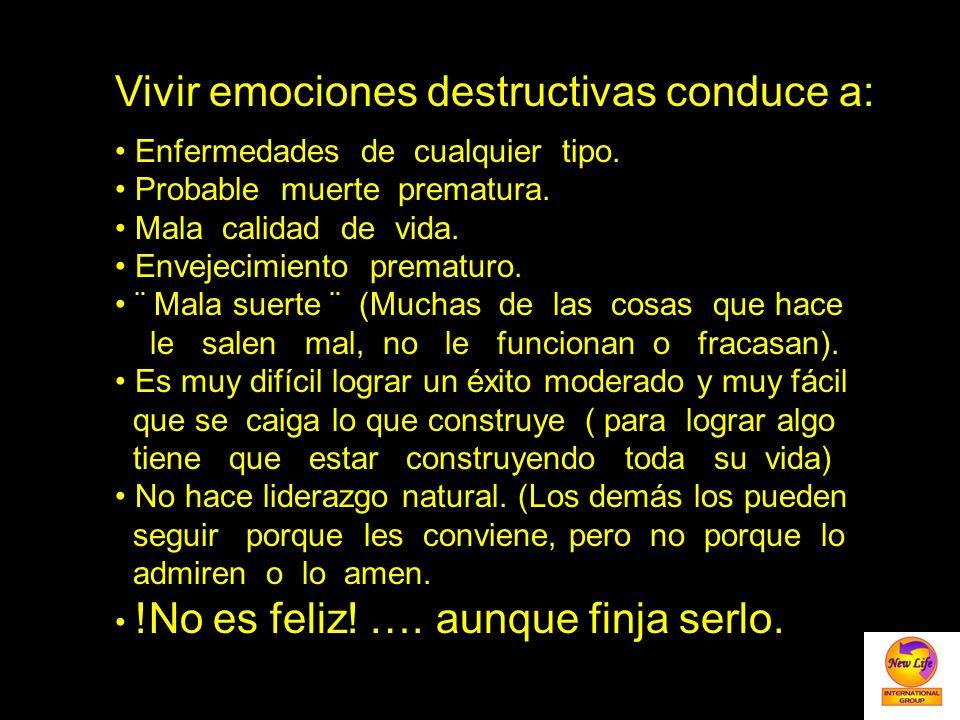 Vivir emociones destructivas conduce a: