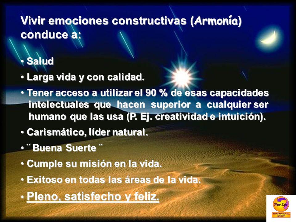 Vivir emociones constructivas (Armonía) conduce a: