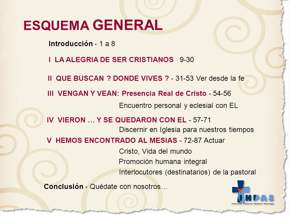 ESQUEMA GENERAL Introducción - 1 a 8