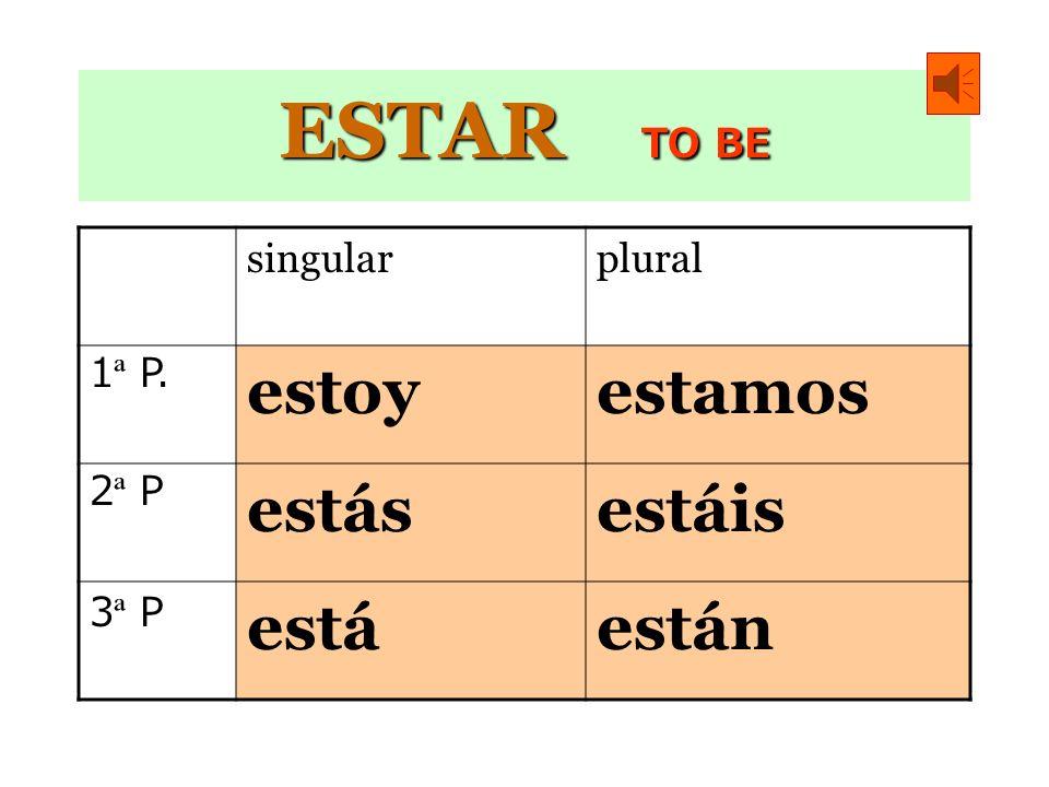 ESTAR TO BE estoy estamos estás estáis está están singular plural
