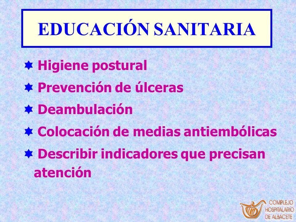 EDUCACIÓN SANITARIA Higiene postural Prevención de úlceras