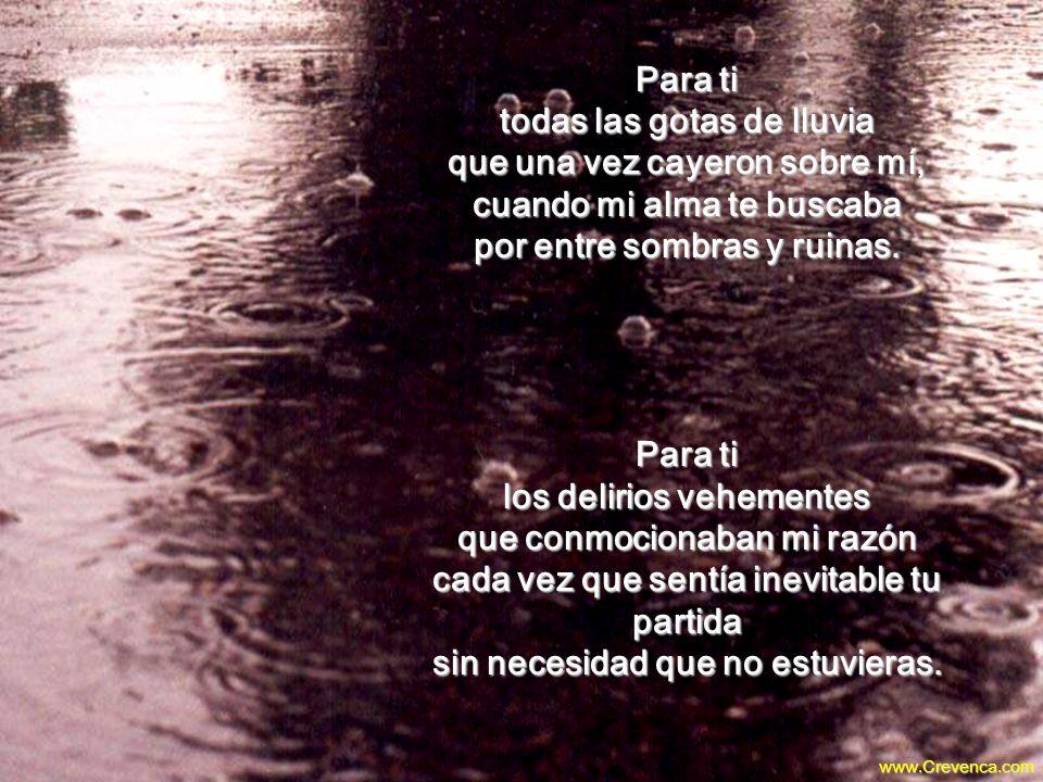 Para ti todas las gotas de lluvia que una vez cayeron sobre mí, cuando mi alma te buscaba por entre sombras y ruinas.
