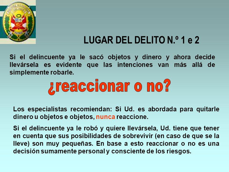 ¿reaccionar o no LUGAR DEL DELITO N.º 1 e 2