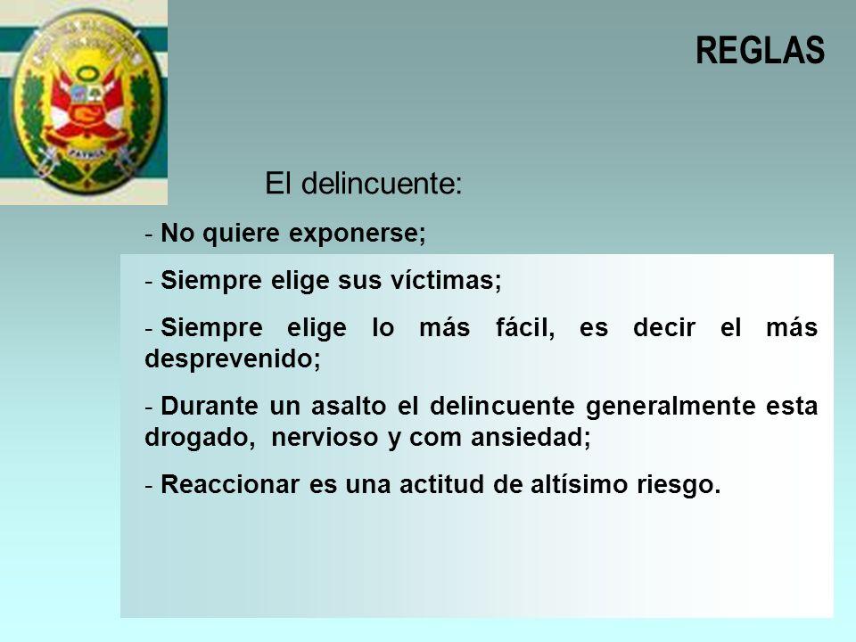 REGLAS El delincuente: No quiere exponerse;