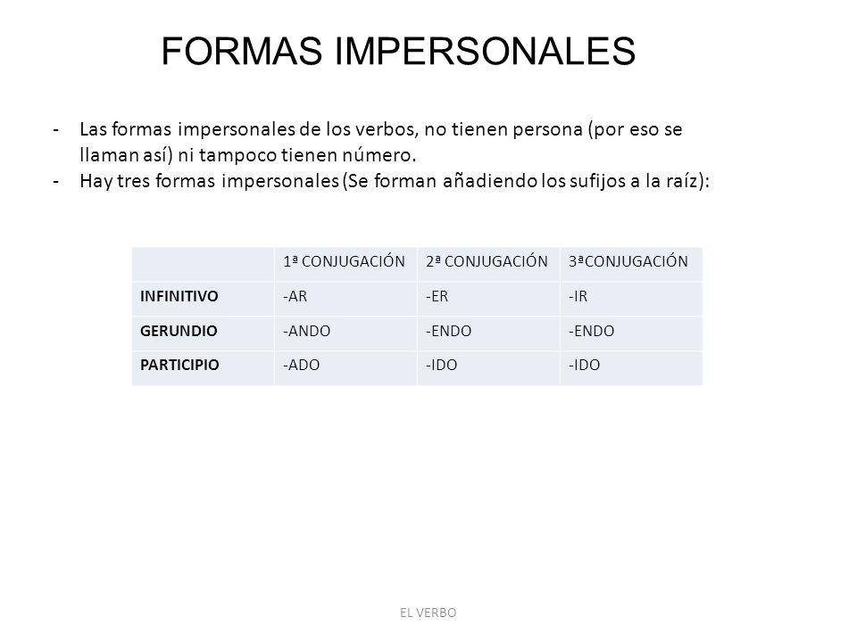 FORMAS IMPERSONALES Las formas impersonales de los verbos, no tienen persona (por eso se llaman así) ni tampoco tienen número.