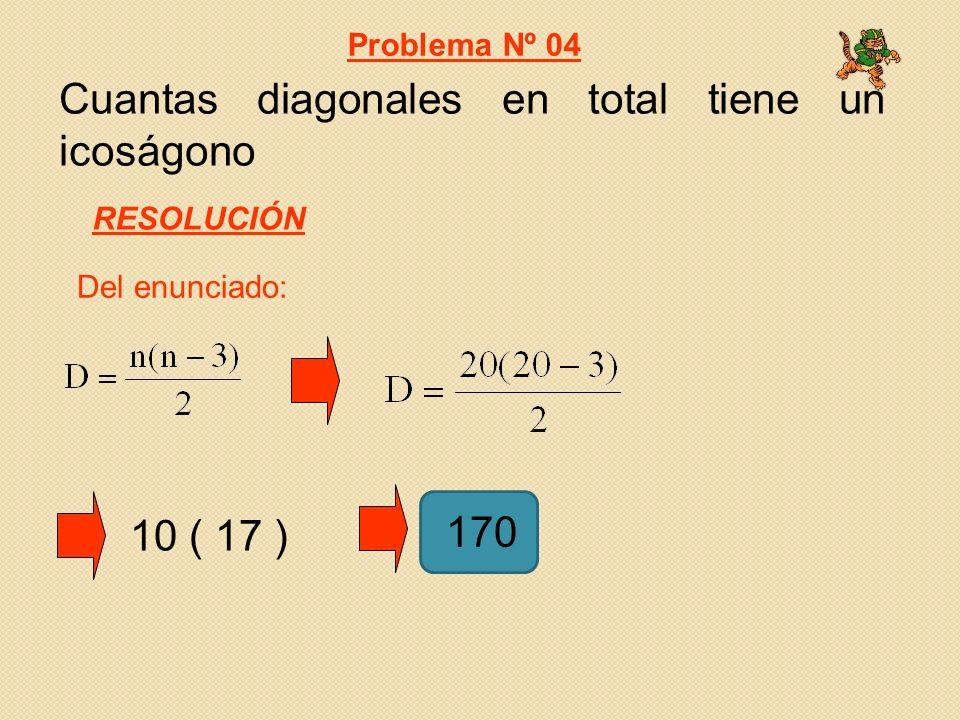 Cuantas diagonales en total tiene un icoságono