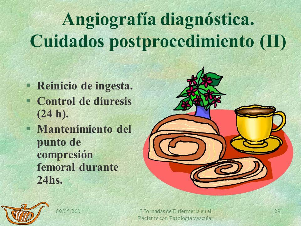 Angiografía diagnóstica. Cuidados postprocedimiento (II)