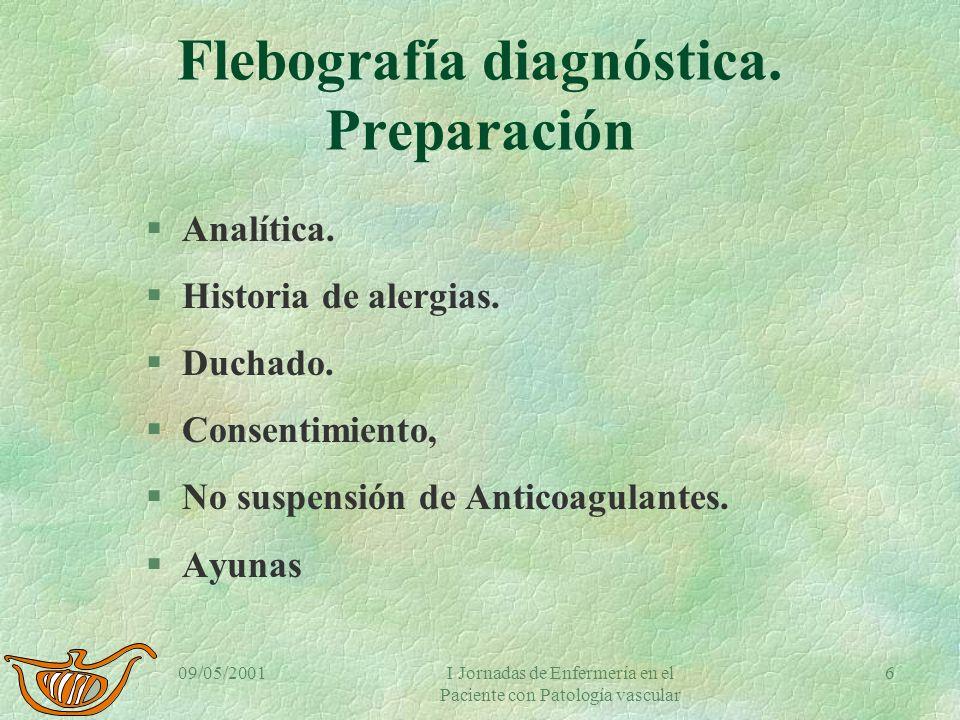 Flebografía diagnóstica. Preparación