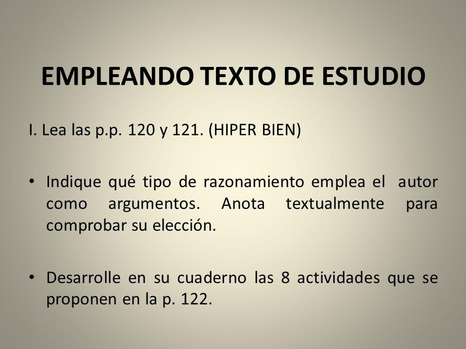 EMPLEANDO TEXTO DE ESTUDIO