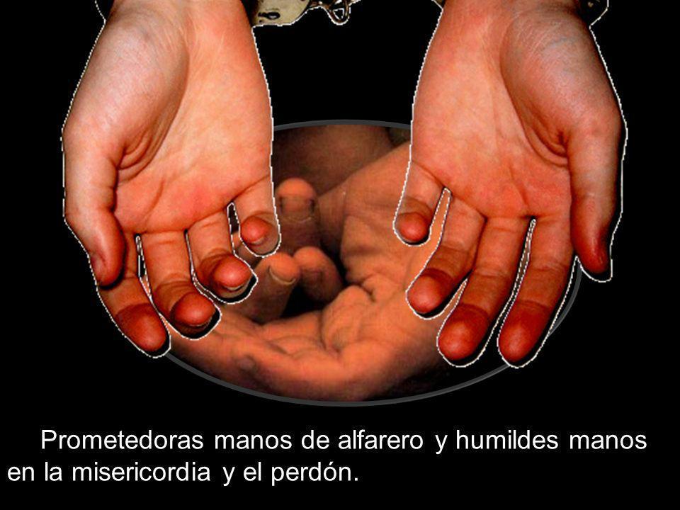 Prometedoras manos de alfarero y humildes manos en la misericordia y el perdón.