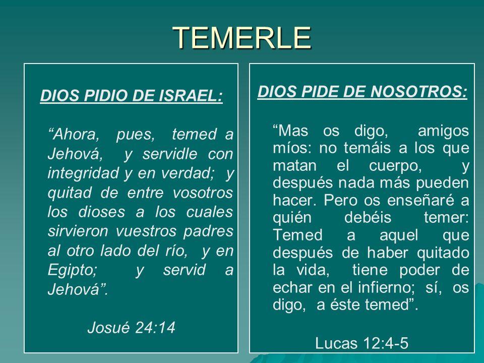 TEMERLE DIOS PIDIO DE ISRAEL: DIOS PIDE DE NOSOTROS: