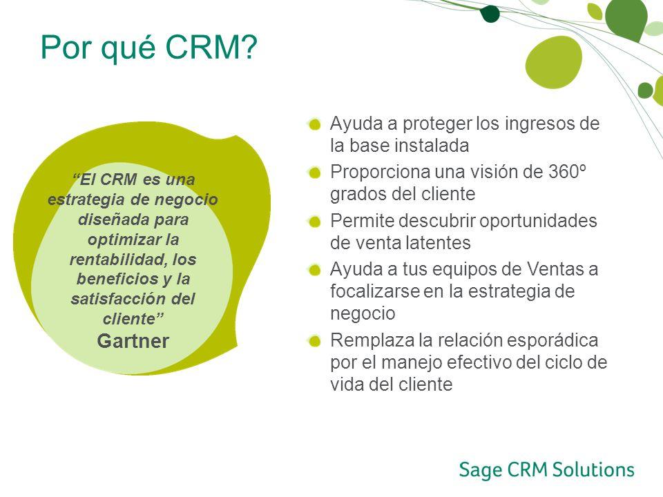 Por qué CRM Ayuda a proteger los ingresos de la base instalada. Proporciona una visión de 360º grados del cliente.
