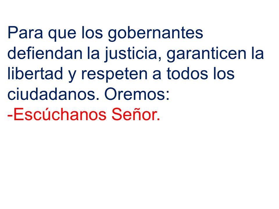 Para que los gobernantes defiendan la justicia, garanticen la libertad y respeten a todos los ciudadanos. Oremos: