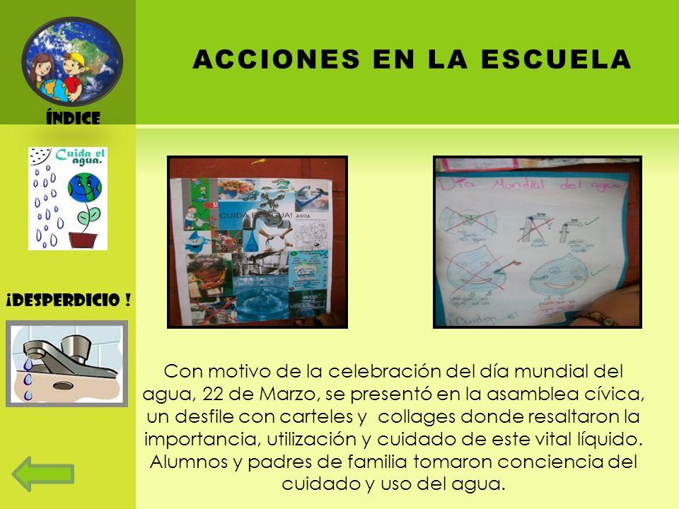 Índice ACCIONES EN LA ESCUELA. ¡Desperdicio !