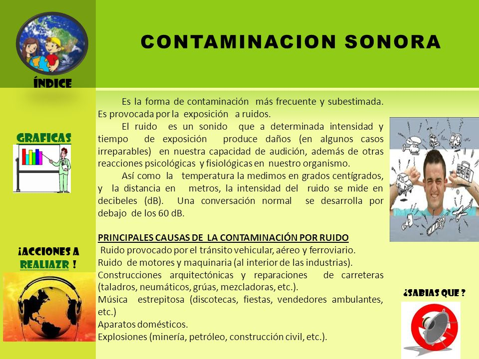 CONTAMINACION SONORA Índice Graficas ¡ACCIONES A REALIAZR !
