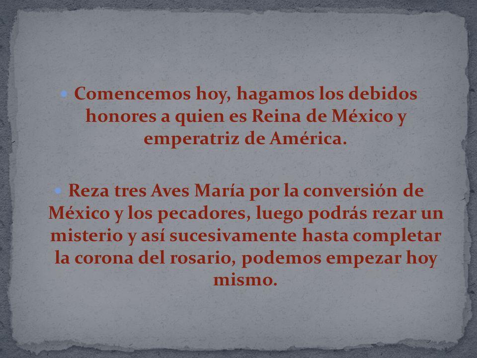 Comencemos hoy, hagamos los debidos honores a quien es Reina de México y emperatriz de América.