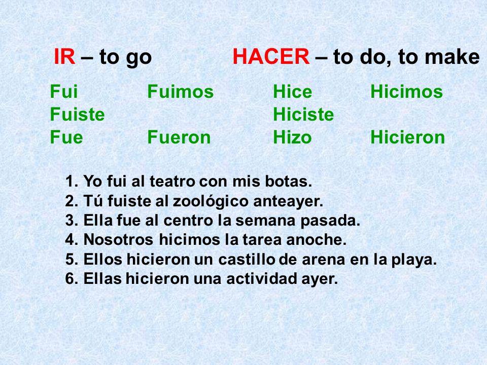 IR – to go HACER – to do, to make Fui Fuimos Fuiste Fue Fueron