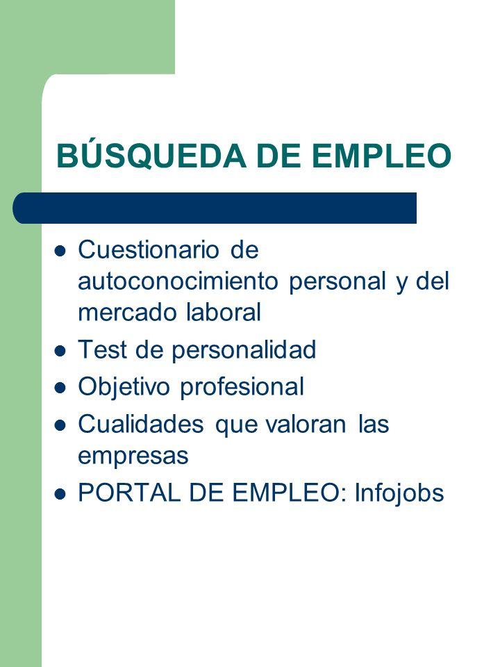 BÚSQUEDA DE EMPLEO Cuestionario de autoconocimiento personal y del mercado laboral. Test de personalidad.