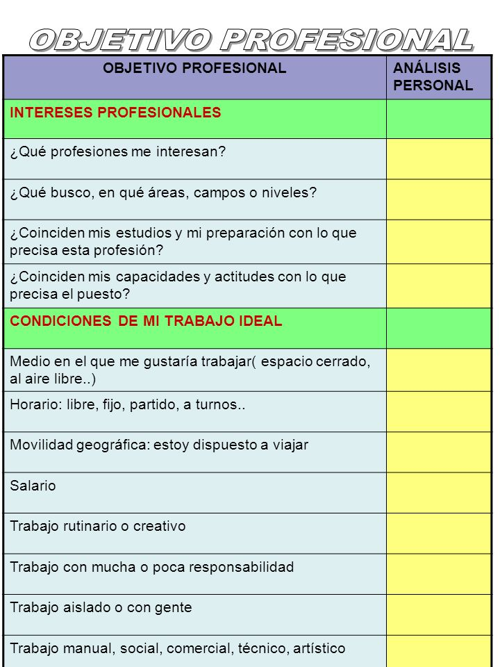 OBJETIVO PROFESIONAL OBJETIVO PROFESIONAL ANÁLISIS PERSONAL