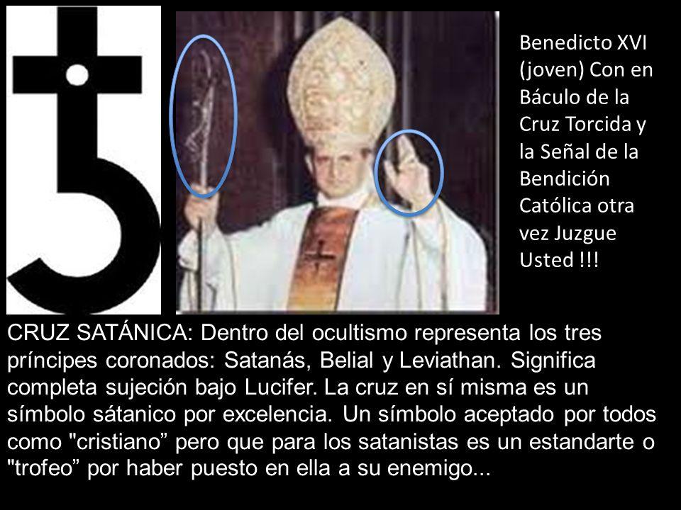 Benedicto XVI (joven) Con en Báculo de la Cruz Torcida y la Señal de la Bendición Católica otra vez Juzgue Usted !!!