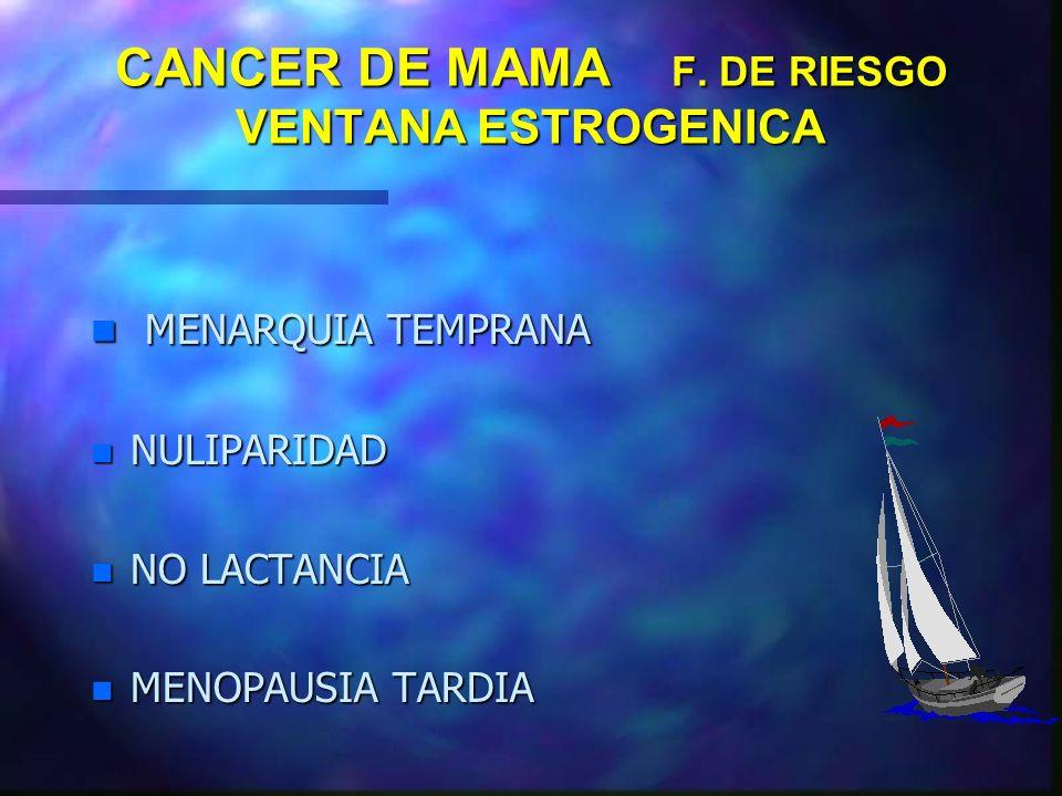 CANCER DE MAMA F. DE RIESGO VENTANA ESTROGENICA