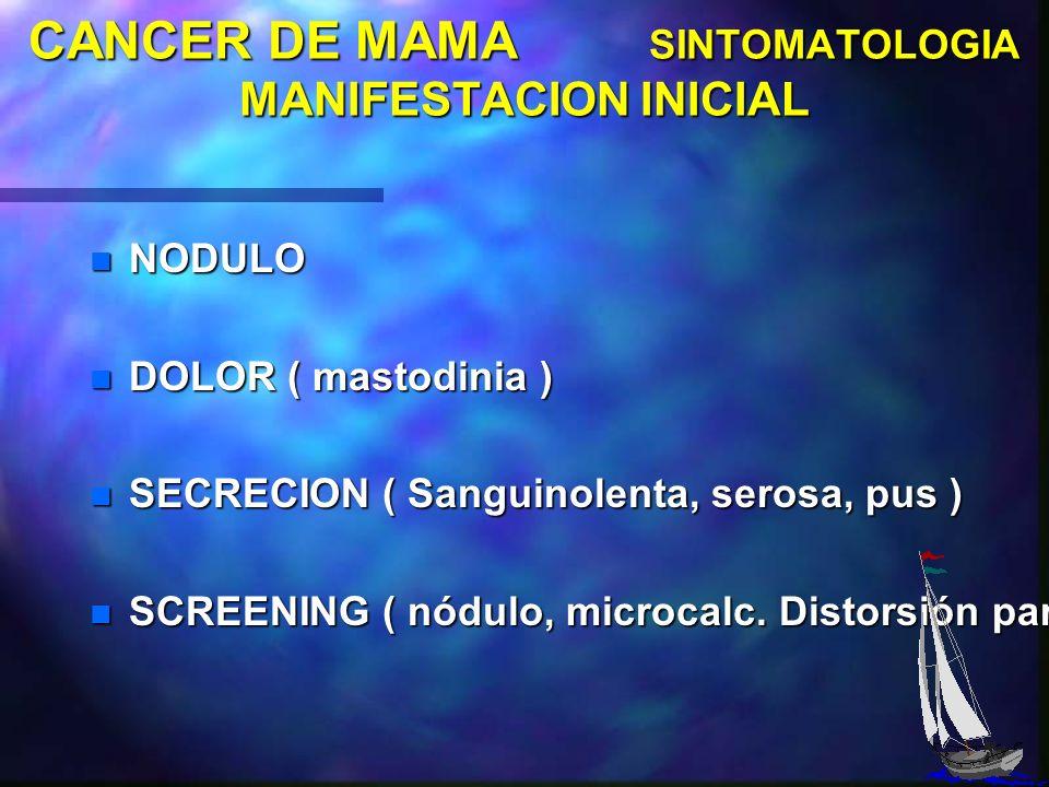 CANCER DE MAMA SINTOMATOLOGIA MANIFESTACION INICIAL