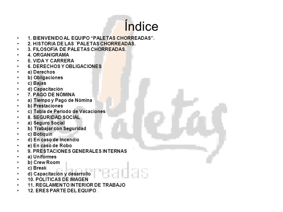 Índice 1. BIENVENIDO AL EQUIPO PALETAS CHORREADAS .