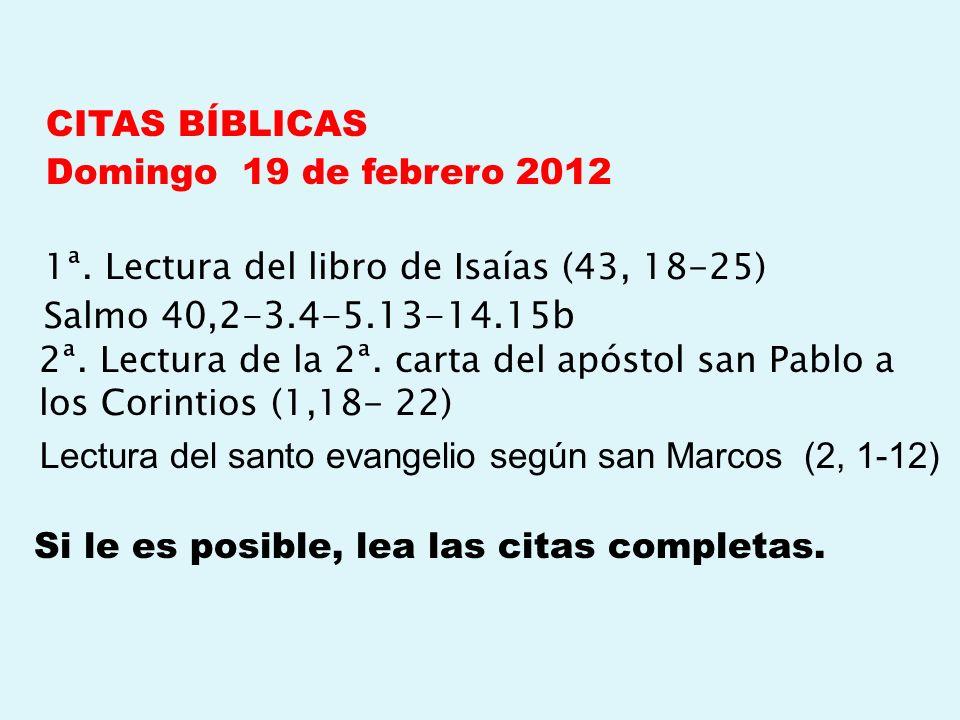 CITAS BÍBLICAS Domingo 19 de febrero 2012 1ª
