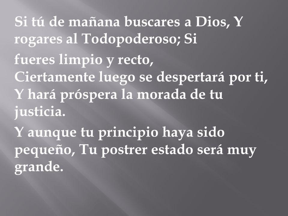 Si tú de mañana buscares a Dios, Y rogares al Todopoderoso; Si