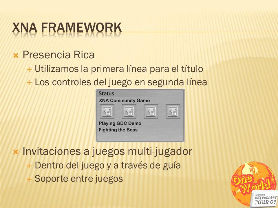 XNA Framework Presencia Rica Invitaciones a juegos multi-jugador
