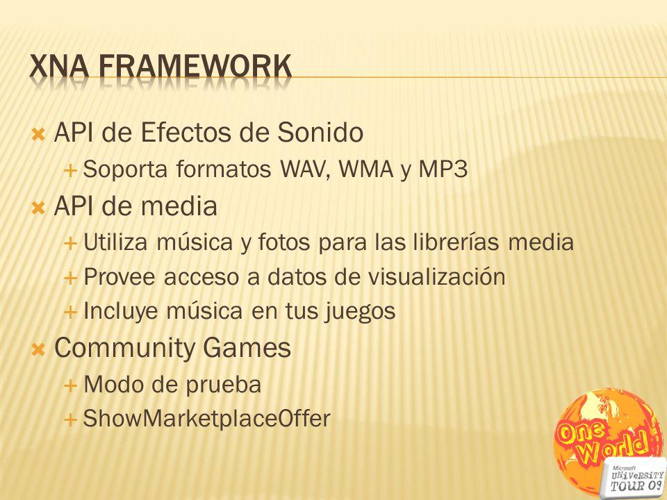 XNA Framework API de Efectos de Sonido API de media Community Games