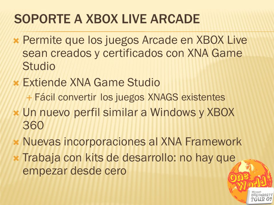 SOPORTE a xbox live arcade