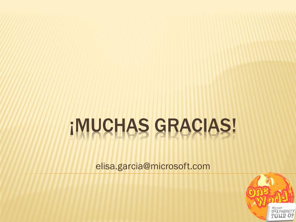 ¡MUCHAS GRACIAS! elisa.garcia@microsoft.com
