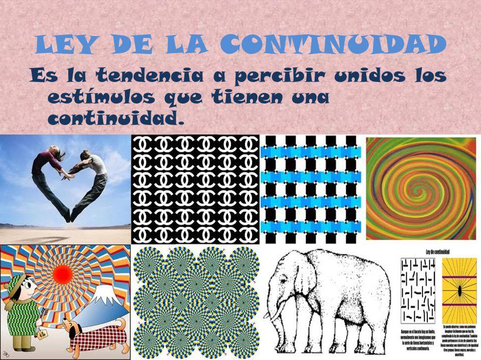 LEY DE LA CONTINUIDAD Es la tendencia a percibir unidos los estímulos que tienen una continuidad.