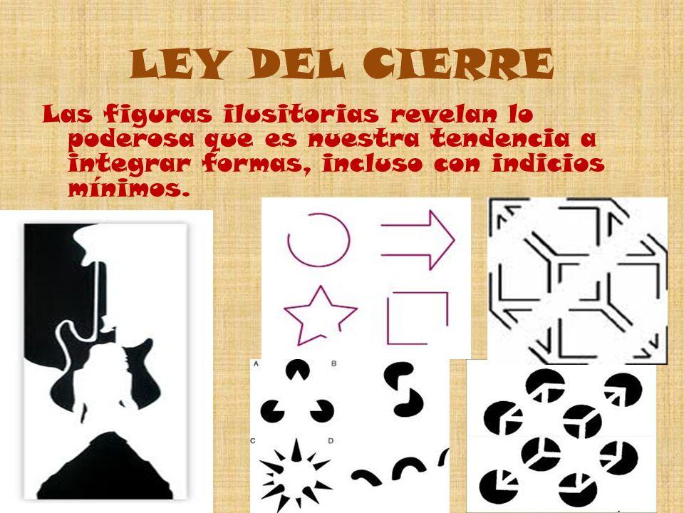 LEY DEL CIERRE Las figuras ilusitorias revelan lo poderosa que es nuestra tendencia a integrar formas, incluso con indicios mínimos.