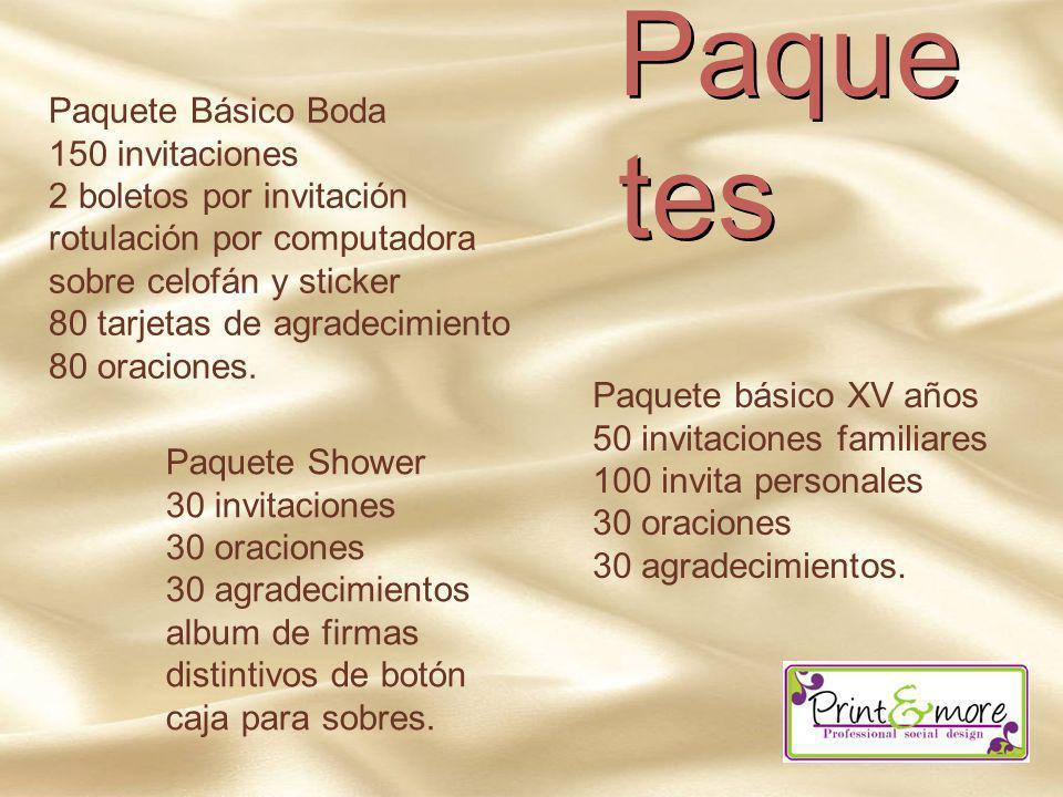 Paquetes Paquete Básico Boda 150 invitaciones 2 boletos por invitación