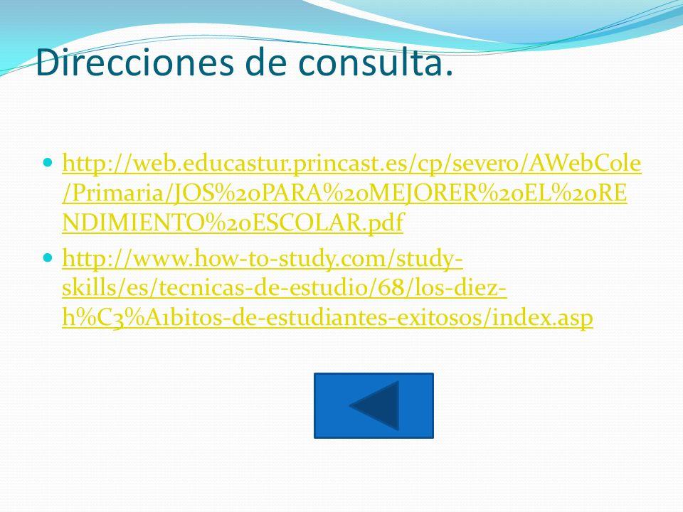 Direcciones de consulta.
