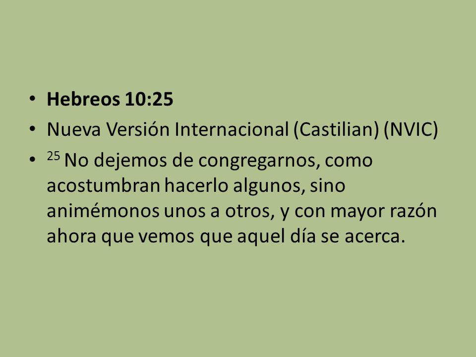 Hebreos 10:25 Nueva Versión Internacional (Castilian) (NVIC)