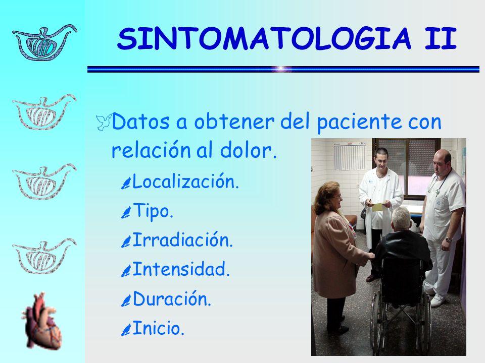 SINTOMATOLOGIA II Datos a obtener del paciente con relación al dolor.