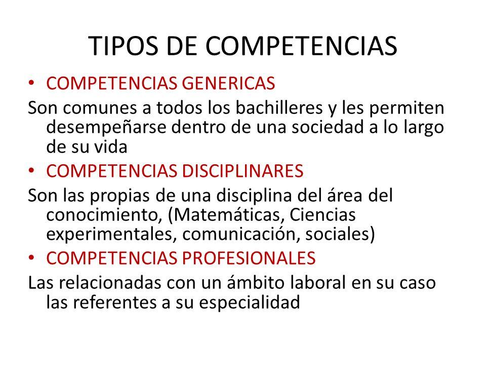 TIPOS DE COMPETENCIAS COMPETENCIAS GENERICAS