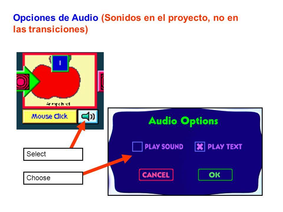 Opciones de Audio (Sonidos en el proyecto, no en las transiciones)