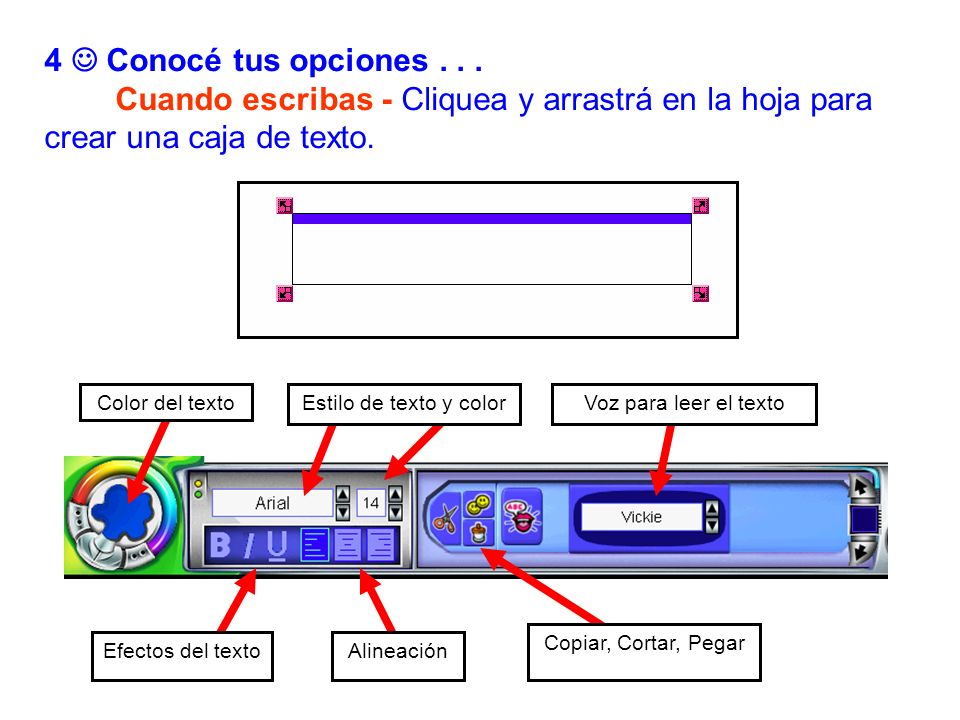 4  Conocé tus opciones . . . Cuando escribas - Cliquea y arrastrá en la hoja para crear una caja de texto.