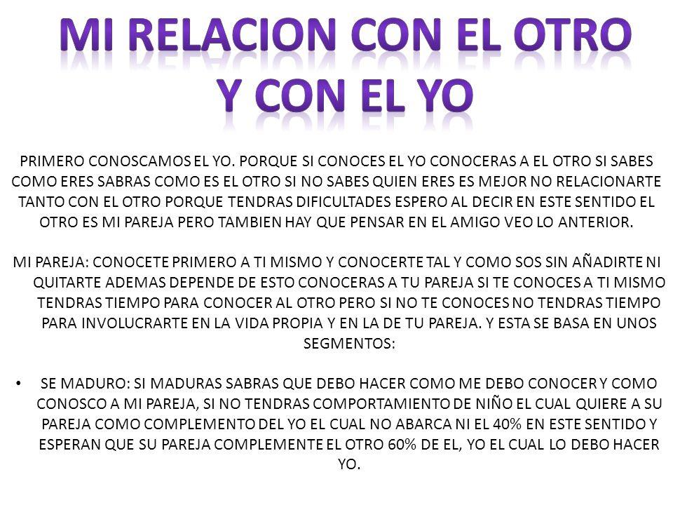 MI RELACION CON EL OTRO Y CON EL YO