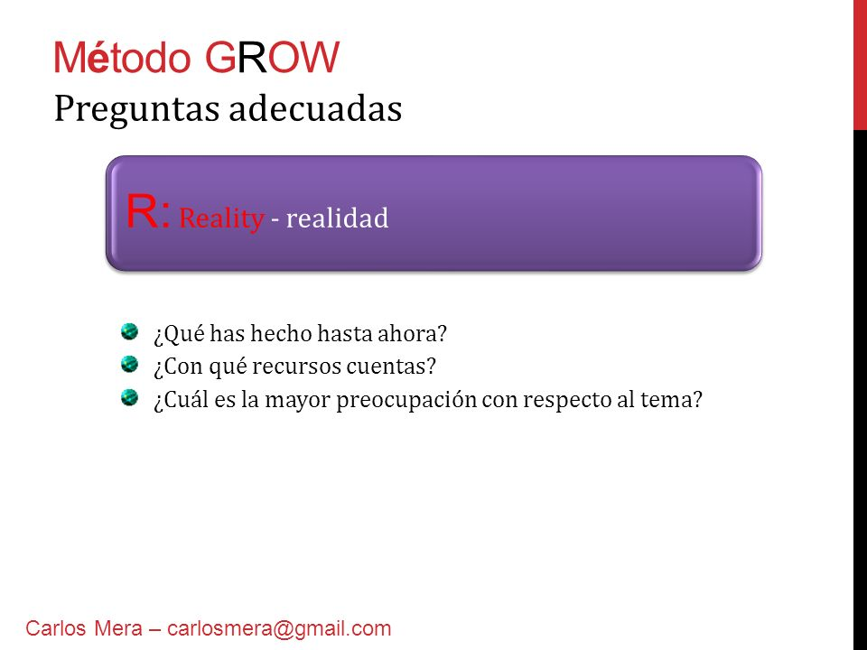 R: Reality - realidad Método GROW Preguntas adecuadas