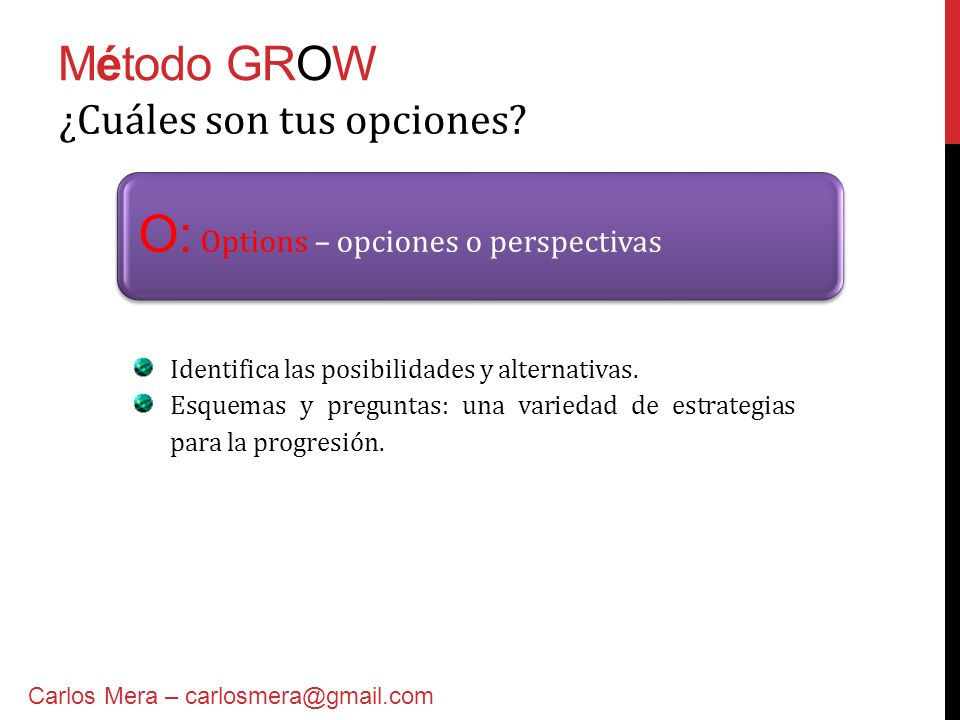 O: Options – opciones o perspectivas