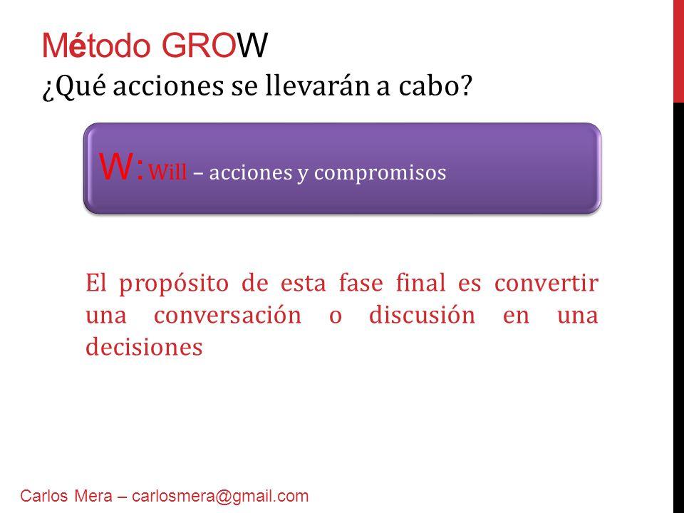 W: Will – acciones y compromisos