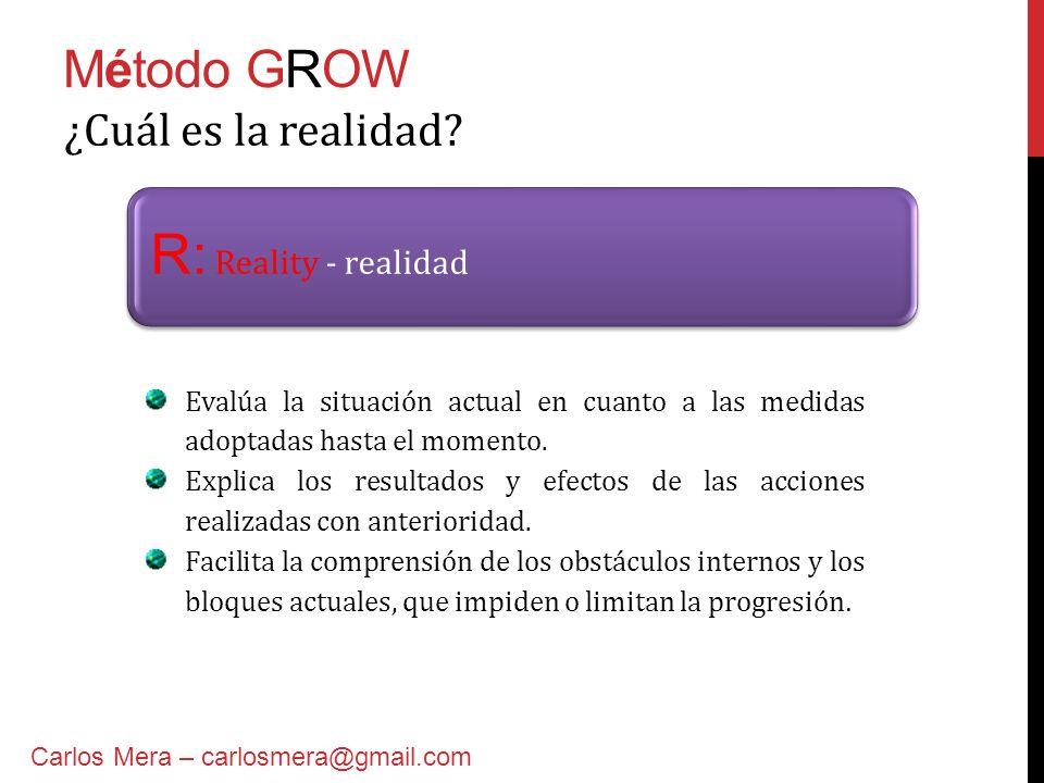 R: Reality - realidad Método GROW ¿Cuál es la realidad