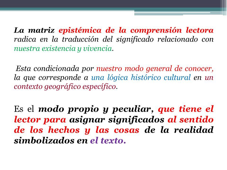 La matriz epistémica de la comprensión lectora radica en la traducción del significado relacionado con nuestra existencia y vivencia.