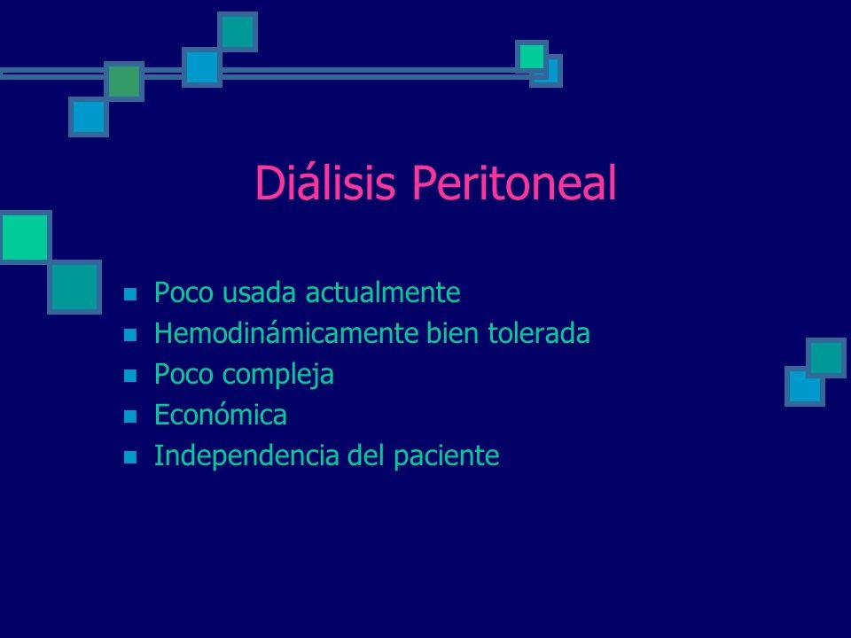 Diálisis Peritoneal Poco usada actualmente